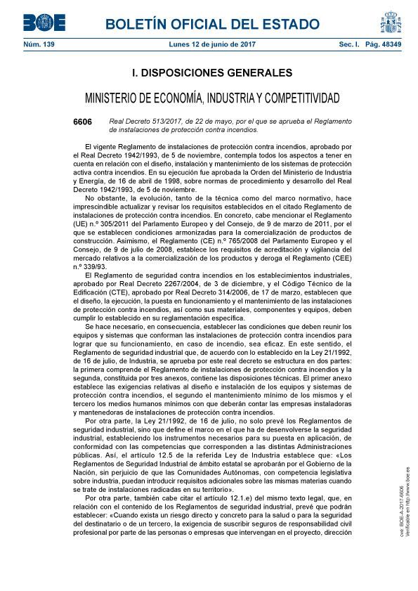 Reglamento de Instalaciones de Protección contra Incendios (RIPCI)