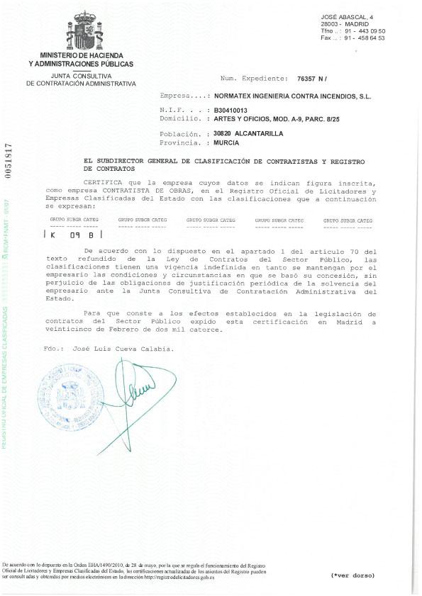 Clasificación contratista del Estado para obras (PDF)