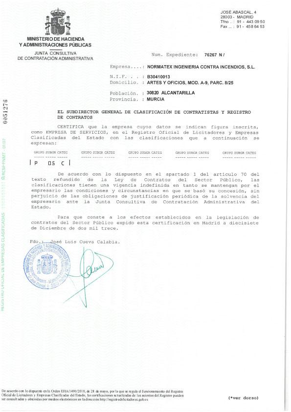 Clasificación contratista del Estado para servicios (PDF)