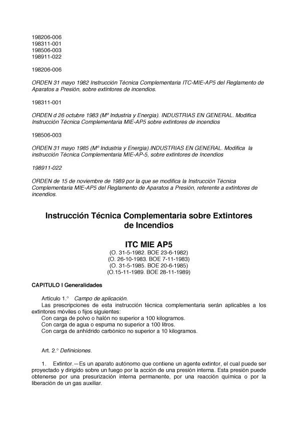 Instrucción Técnica Complementaria sobre Extintores de Incendio