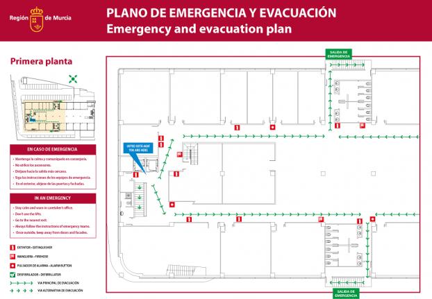 """Plano de emergencia y evacuación """"usted está aquí"""""""