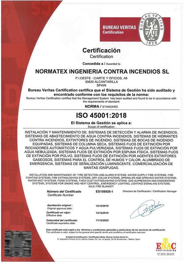Certificación ISO 45001 (PDF)